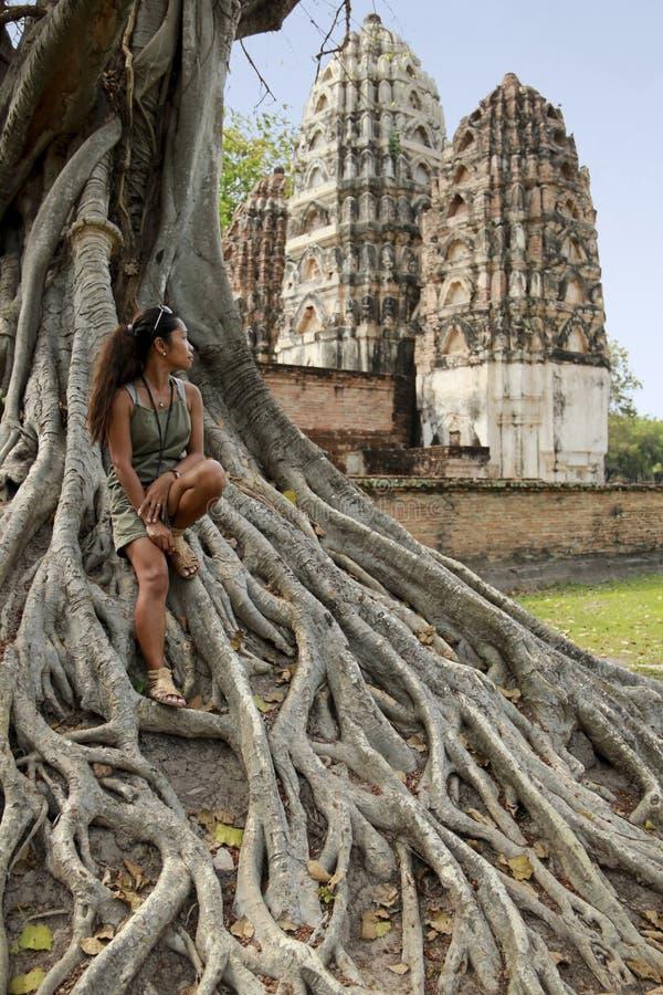 Sukhothai di seduta Tailandia dell'albero di banyan della donna fotografie stock