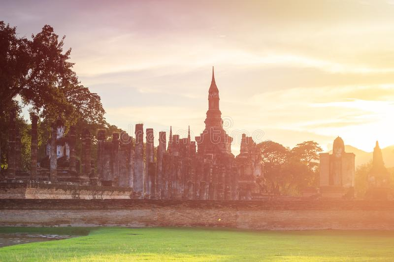 Sukhothai Historical Park at Sunset time, Sukhothai province, Lo. Cated in a beautiful setting of lawns, lakes and trees in north-central of Thailand royalty free stock photos
