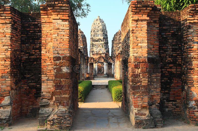 Sukhothai Historical Park,Thailand. The entrance of Wat Sri Sawat temple in Sukhothai Historical Park, center of Thailand stock images