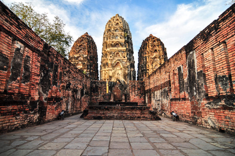 Sukhothai historisch park, de oude stad van Thailand in 800 jaar stock afbeeldingen