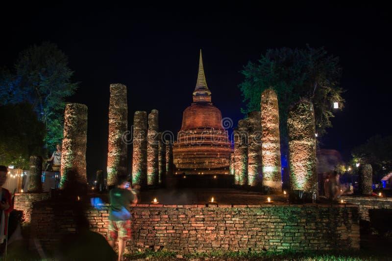 Sukhothai - 24. November 2018: Die Lampe helle Farbe-Sukhothai Co lizenzfreies stockfoto