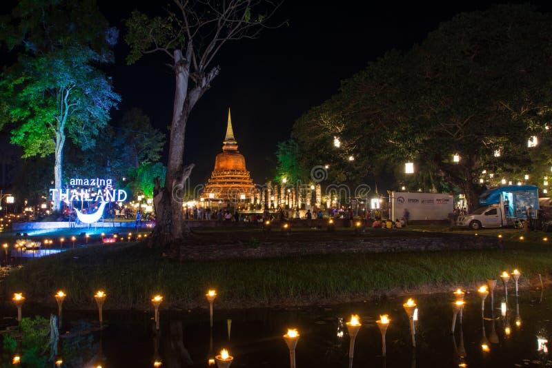 Sukhothai - 24. November 2018: Die Lampe helle Farbe-Sukhothai Co lizenzfreie stockfotos