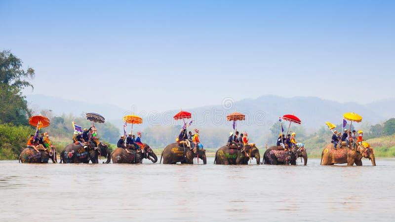 Sukhothai ordination parade on elephant back festival at Hadsiao Temple. SUKHOTHAI - APRIL 7 : Sukhothai ordination parade on elephant back festival at Hadsiao stock photography