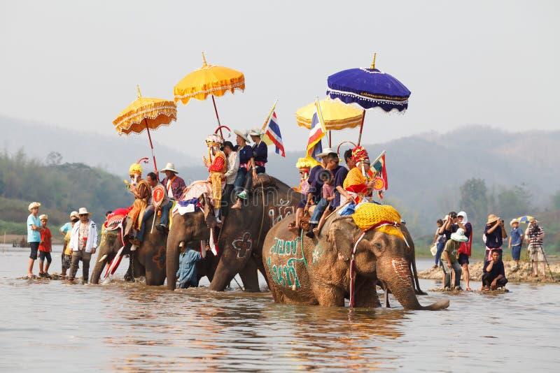 Sukhothai ordination parade on elephant back festival at Hadsiao Temple. SUKHOTHAI - APRIL 7 : Sukhothai ordination parade on elephant back festival at Hadsiao stock images