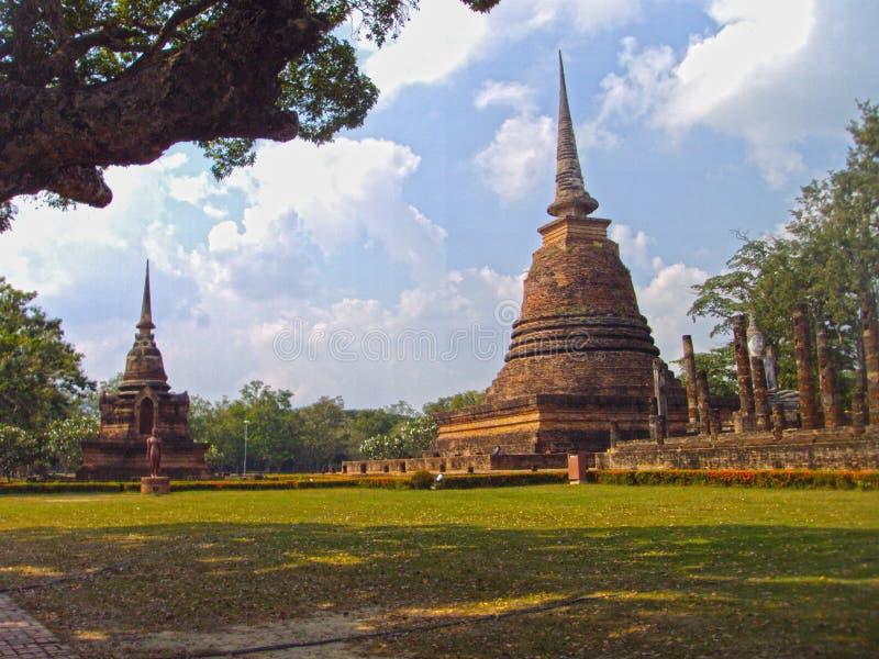 Sukhothai oude stad, centraal deel stock foto's