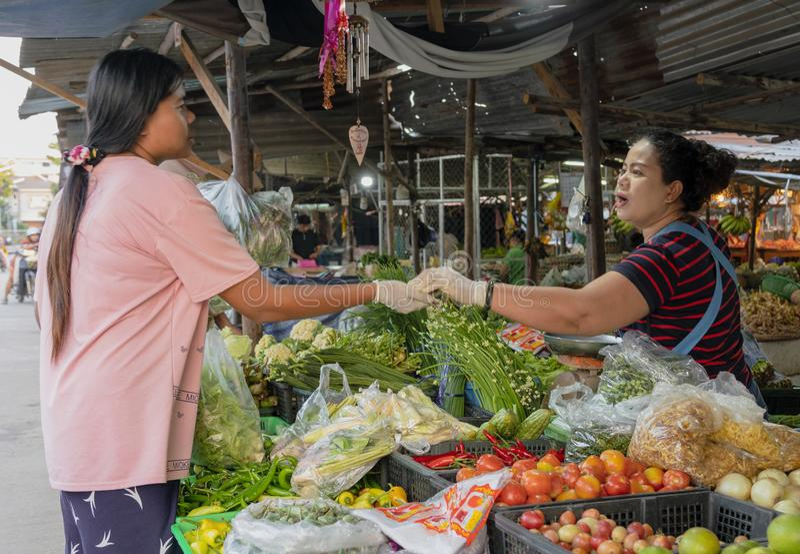 Sukhothai, Tahiland - 2019-03-06 - venditore di verdure fa una vendita al mercato fotografia stock