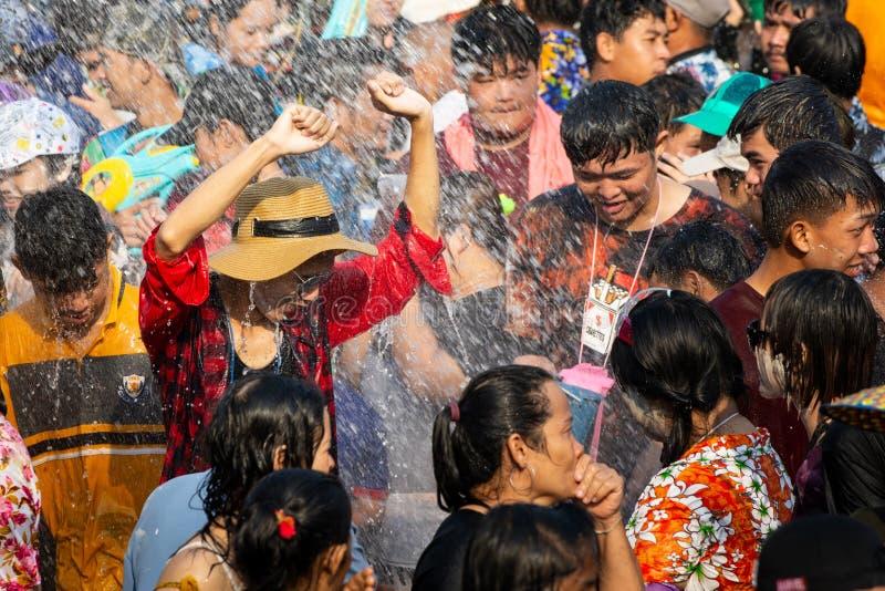 Sukhothai, Thailand - 15 April 2019: Thai people celebrating New Year Songkran Water Festival on the street.  royalty free stock photo