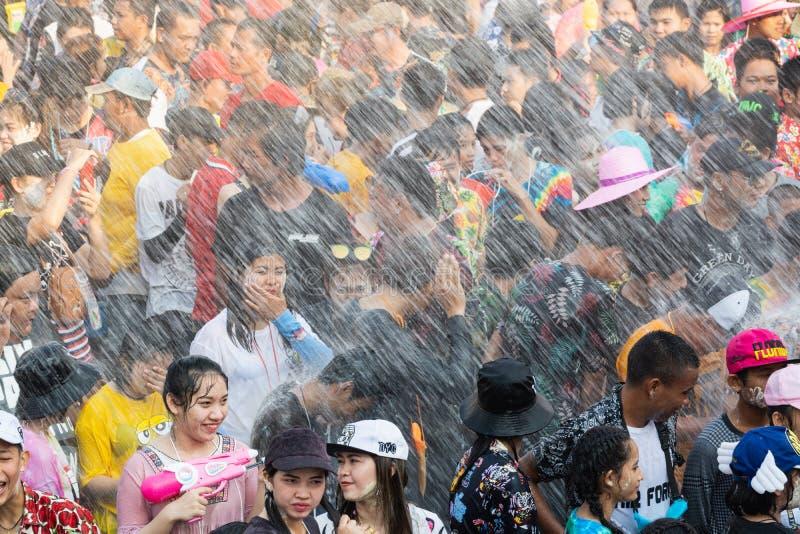 Sukhothai, Thailand - 15 April 2019: Thai people celebrating New Year Songkran Water Festival on the street.  royalty free stock photos