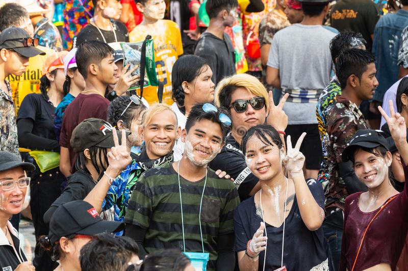 Sukhothai, Thailand - 15 April 2019: Thai people celebrating New Year Songkran Water Festival on the street.  stock images