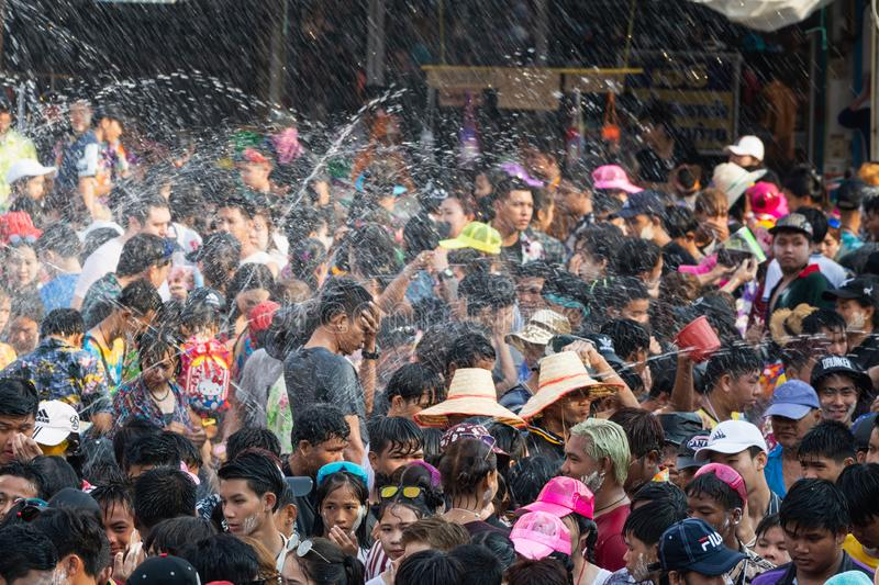 Sukhothai, Thailand - 15 April 2019: Thai people celebrating New Year Songkran Water Festival on the street.  royalty free stock photography