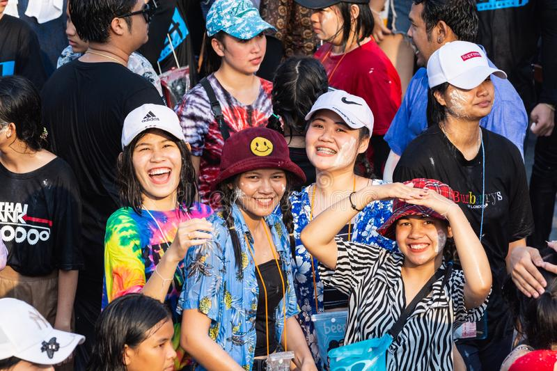 Sukhothai, Thailand - 15 April 2019: Thai people celebrating New Year Songkran Water Festival on the street.  stock photography