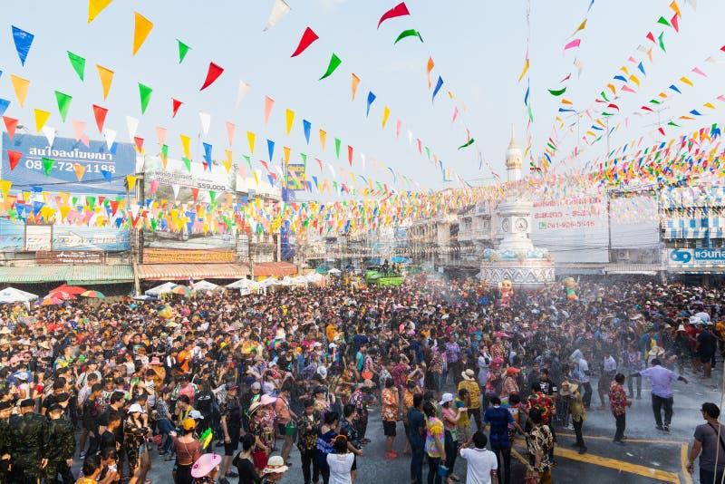 Sukhothai, Thailand - 15 April 2019: Thai people celebrating New Year Songkran Water Festival on the street.  stock image