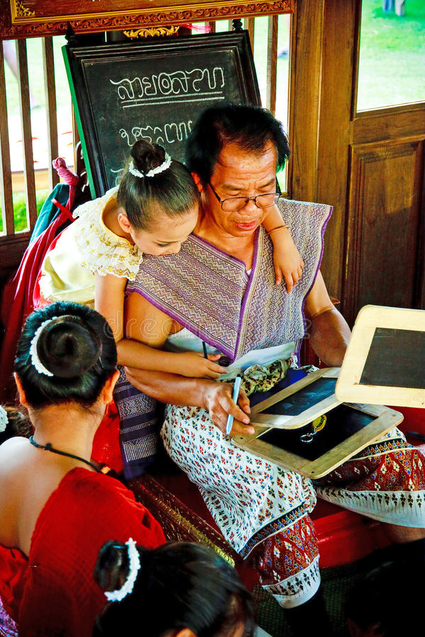 SUKHOTHAI, 10 THAILAND-NOVEMBER Simuleer retro levensstijl en royalty-vrije stock afbeelding