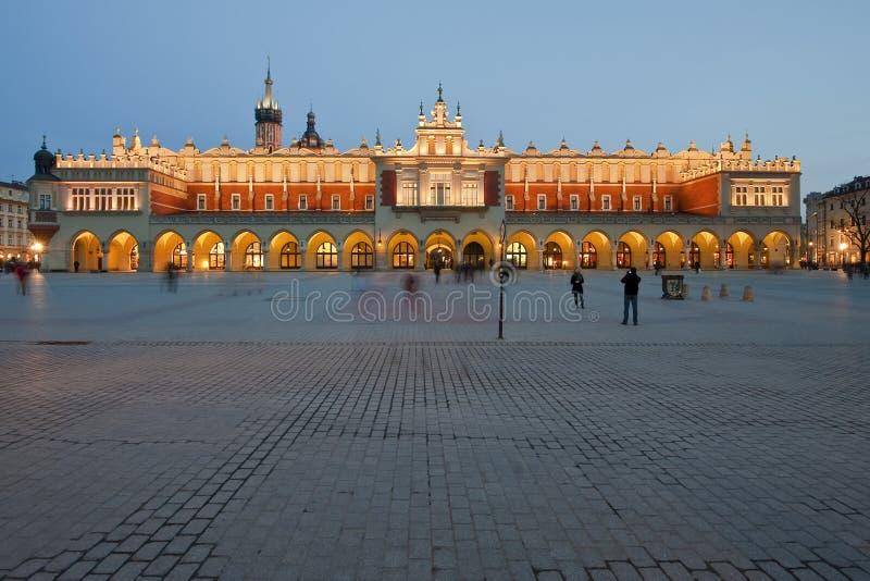 Sukiennice on the Krakow main square at night. Beautiful old Sukiennice on the Krakow main square at night, Poland royalty free stock image