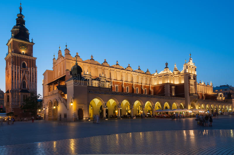 Sukiennice on The Main Market Square in Krakow stock photography