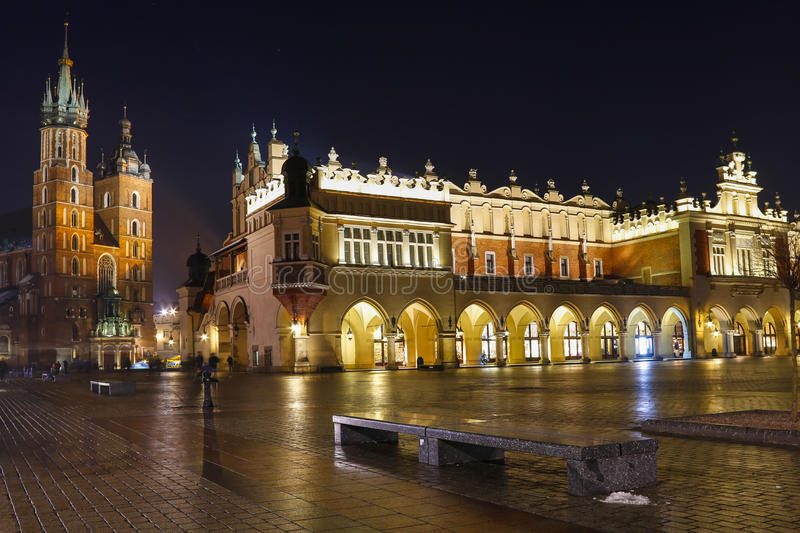 Sukiennice at the Main Market Square (Rynek) in Krakow, Poland. In the evening royalty free stock image