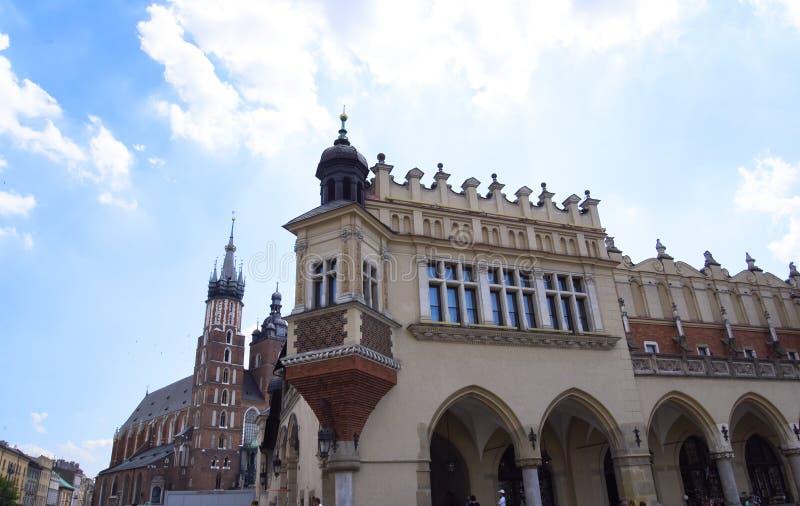 Sukienny Hall w Targowym kwadracie w Krakow Polska fotografia stock