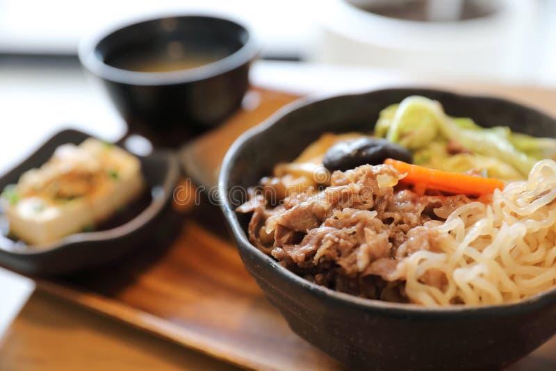 Sukiyaki donburi , sukiyaki hot pot stew with Japanese rice in bowl Japanese food. Sukiyaki donburi , sukiyaki hot pot stew with Japanese rice in bowl royalty free stock photo