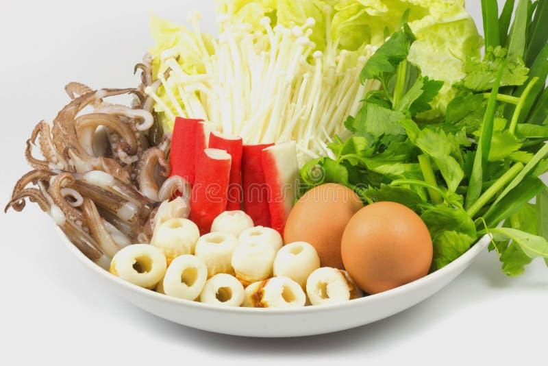 Sukiyaki, gemengde groenten, combinaties royalty-vrije stock afbeeldingen