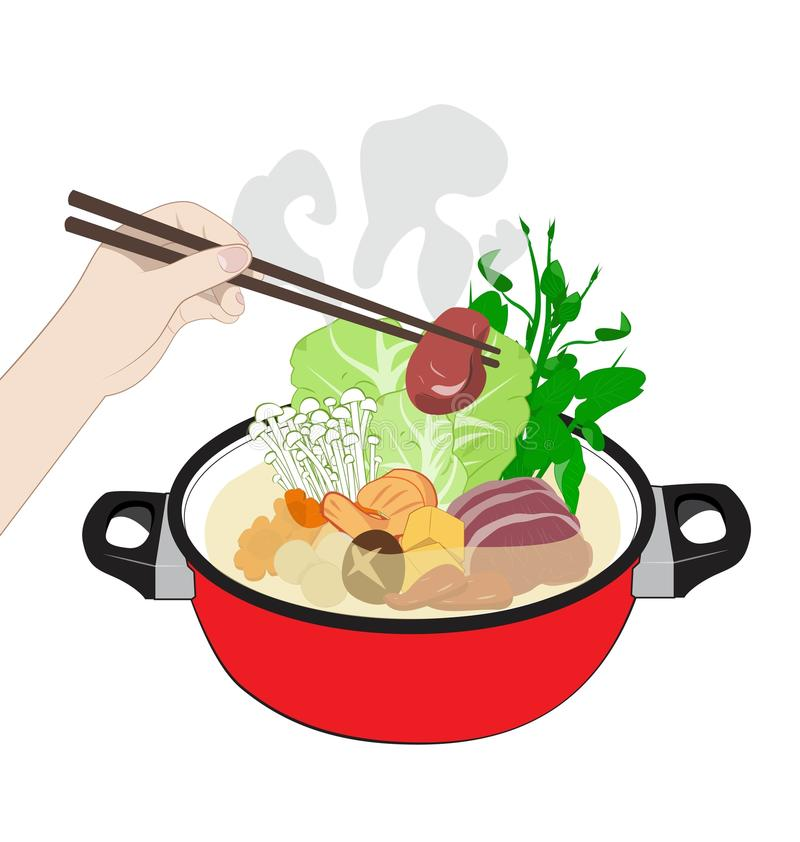 Sukiyaki. Hot Sukiyaki on white background vector illustration