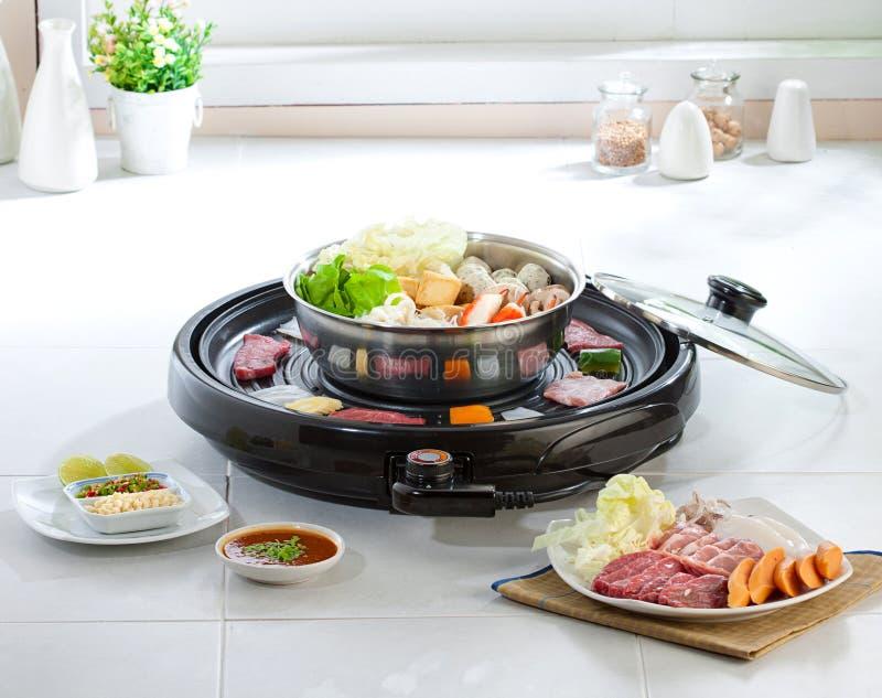 Sukiyaki and Japanese food grill set stock photography