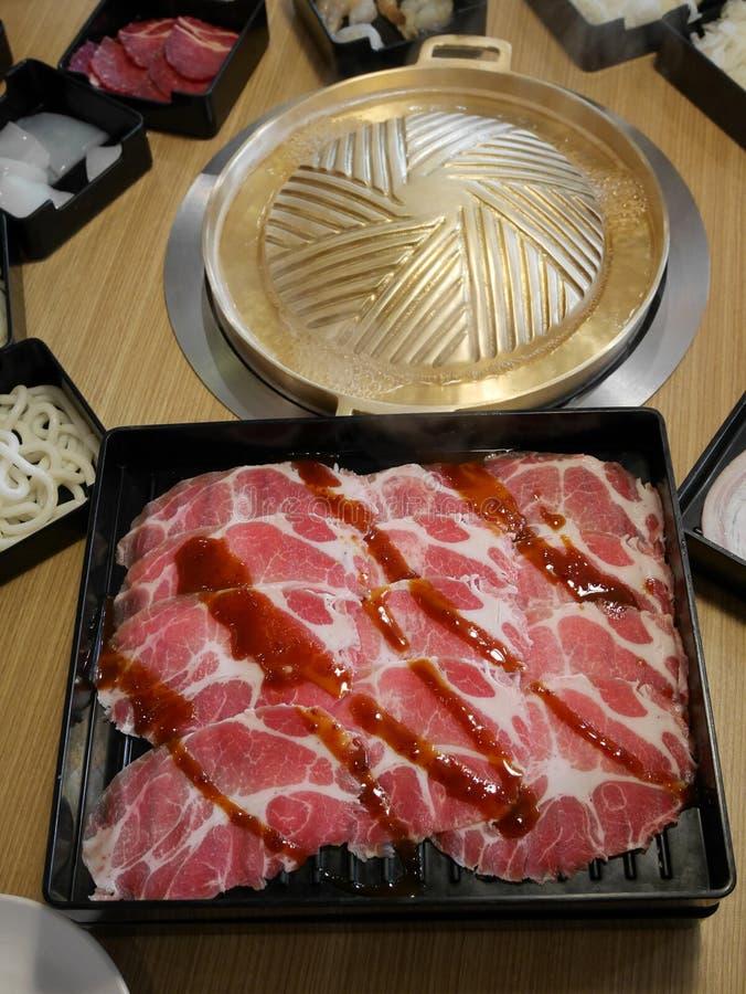 Sukiyaki Japanese menu set stock photos