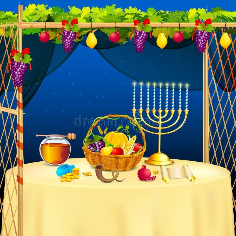 Sukkah para comemorar Sukkot ilustração do vetor