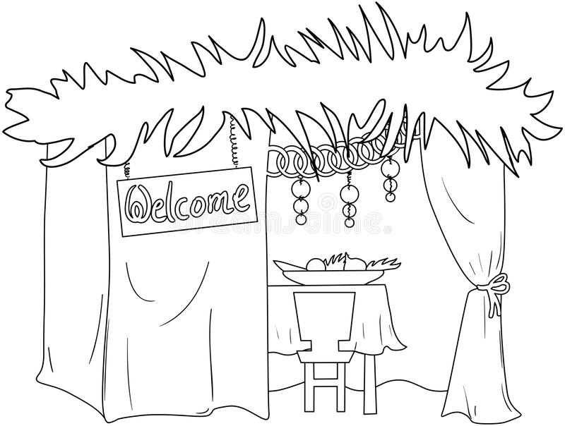 Sukkah For Sukkot Coloring Page Stock Vector Illustration of
