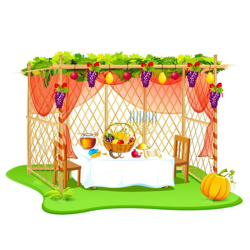 Sukkah voor het vieren Sukkot stock illustratie