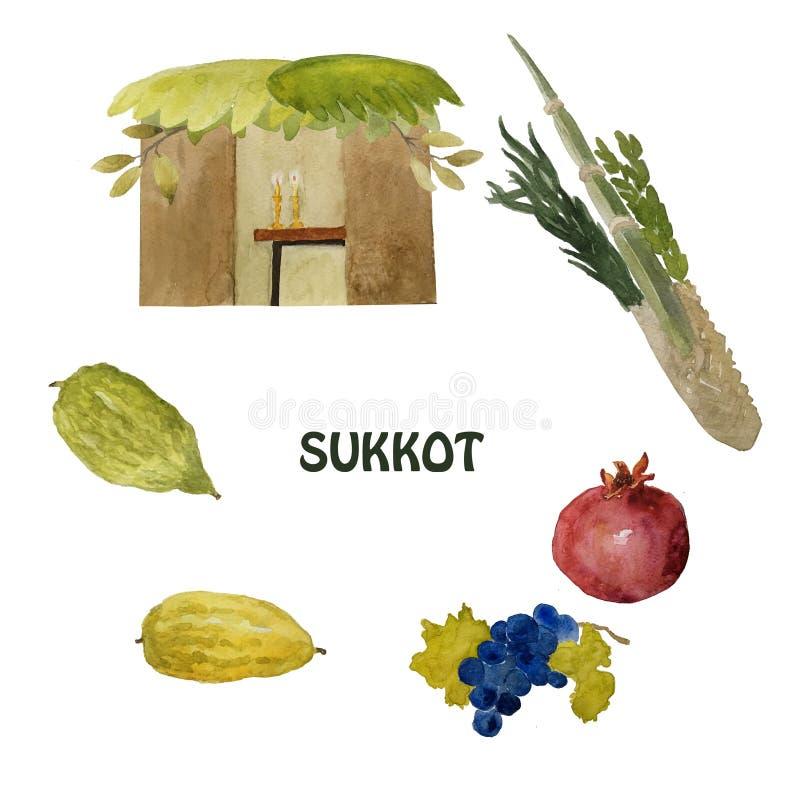 Sukkot, een Joodse vakantie Met het beeld van Etrog, lulav, hadas, arava Hand getrokken illustratie royalty-vrije illustratie