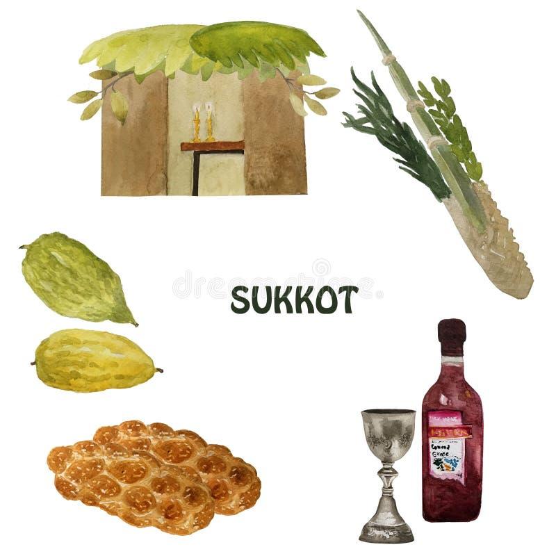 Sukkot, een Joodse vakantie Met het beeld van Etrog, lulav, hadas, arava Hand getrokken illustratie vector illustratie