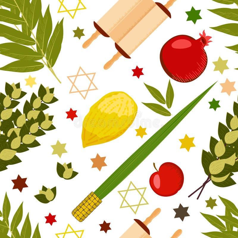 Sukkot. Judaic holiday. Traditional symbols - Etrog, lulav, hadas, arava. Torah scroll. Apple, pomegranate, figs. Star of David. S stock illustration