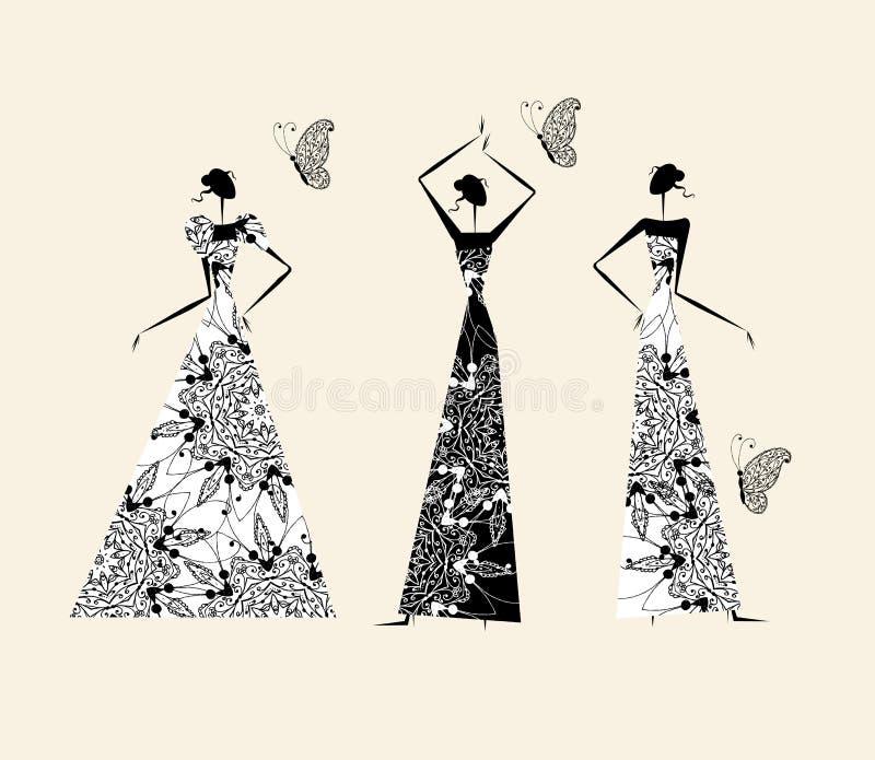sukni mody dziewczyn target1066_1_ ilustracja wektor