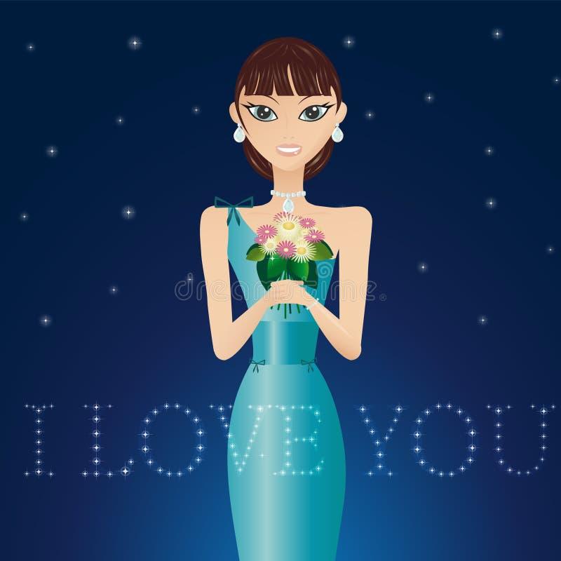 sukni wieczorowej piękna kobieta royalty ilustracja