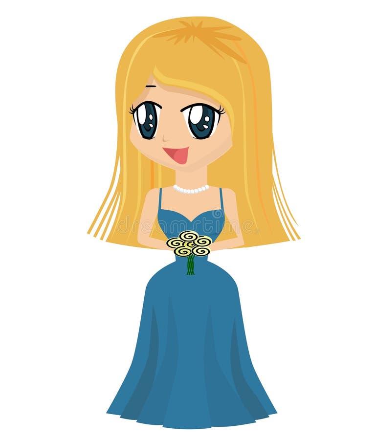 suknia kreskówek dziewczyny ilustracji