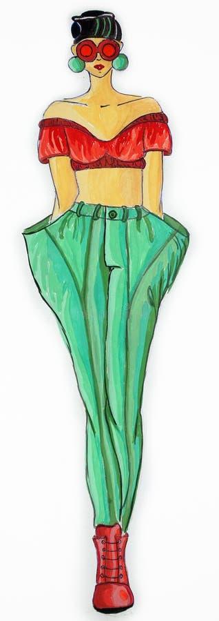 Suknia rysująca w akwareli zdjęcie stock