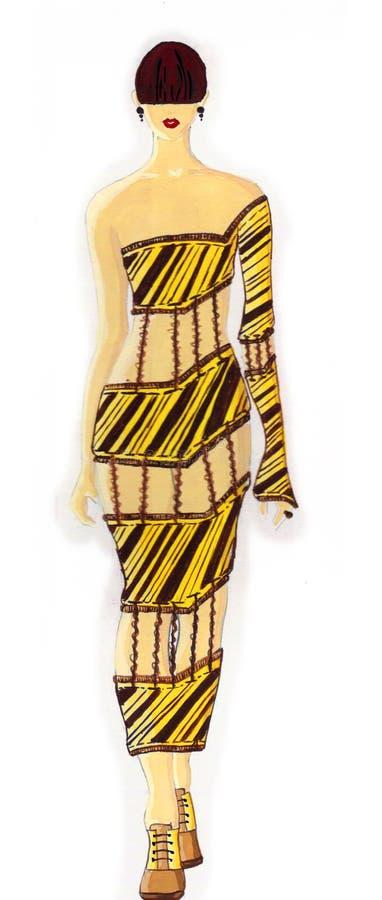 Suknia rysująca w akwareli obrazy royalty free
