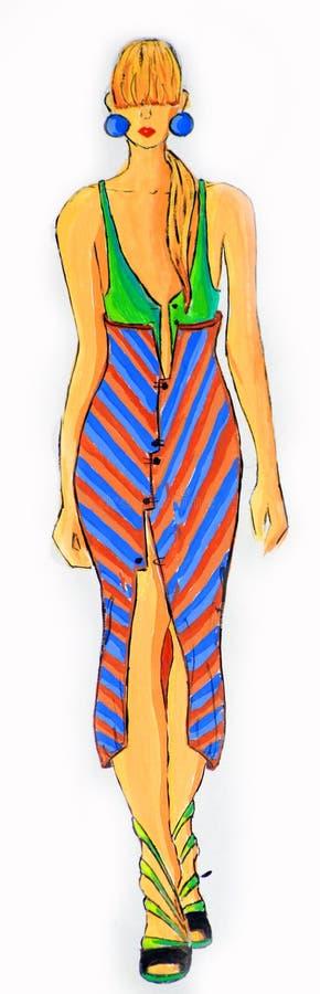 Suknia rysująca w akwareli zdjęcia stock