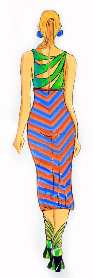 Suknia rysująca w akwareli obraz royalty free