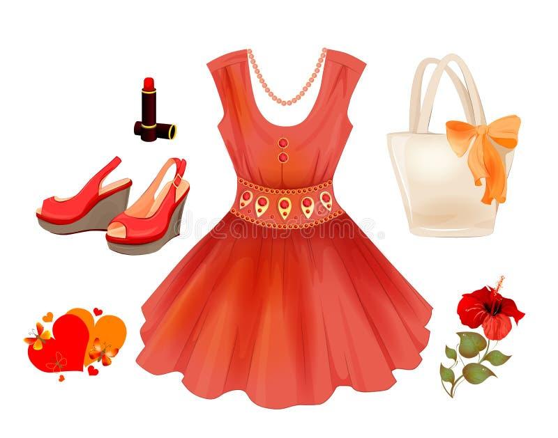 Suknia, torebka, kwiat, pomadka i piasek, royalty ilustracja
