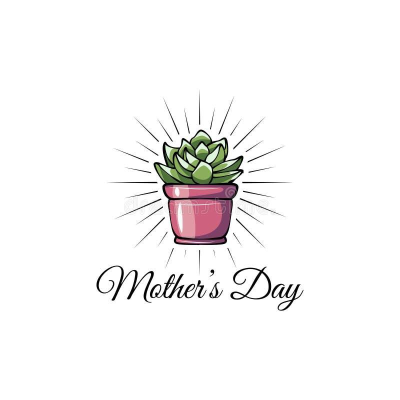 sukulent matka dnia kartka z pozdrowieniami tła kwiatu ikony ilustracyjny setu wektoru biel Mama prezent wektor ilustracji