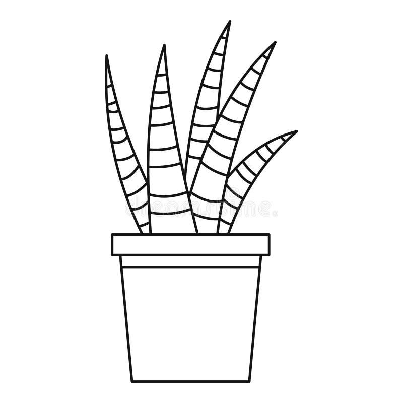 Sukulentu domu rośliny ikona, konturu styl ilustracja wektor
