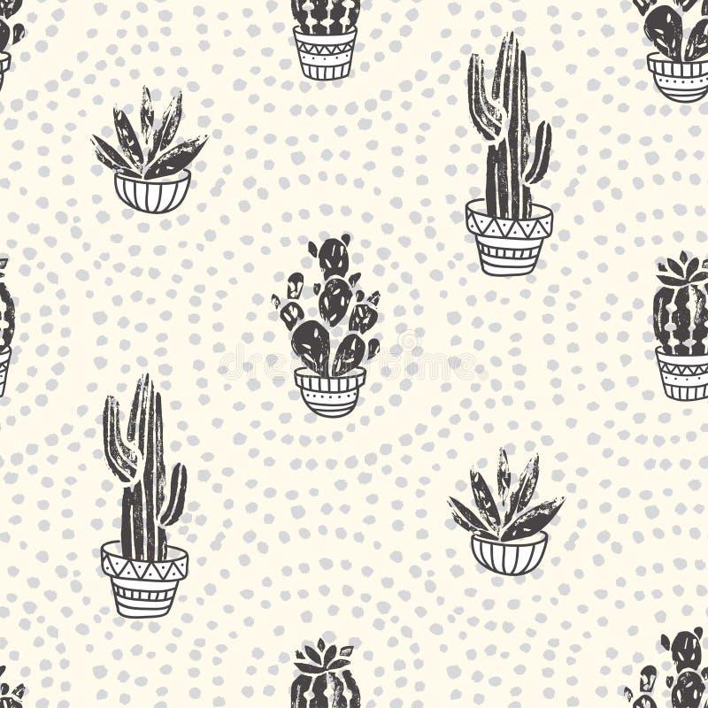 Sukulenty i kaktus rośliny na kropki tle Wektorowy bezszwowy wzór z domu ogródu kreskówki kaktusem ilustracja wektor