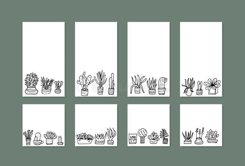 Sukulenty w doodle stylu również zwrócić corel ilustracji wektora ilustracja wektor