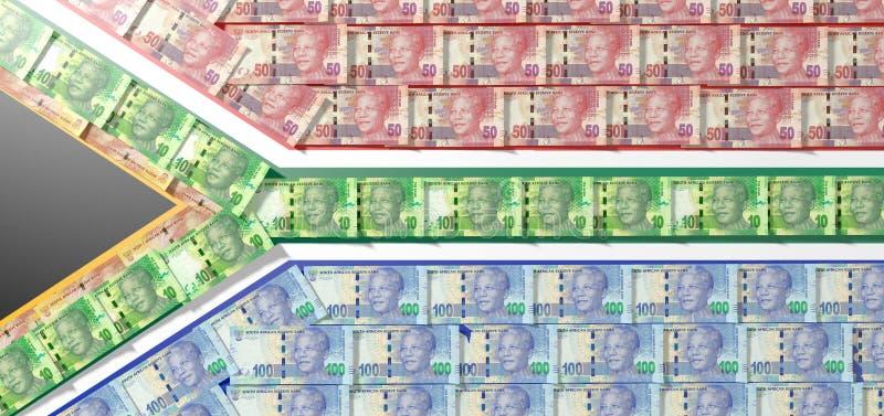 Sul - africano Rand Notes Flag fotografia de stock royalty free