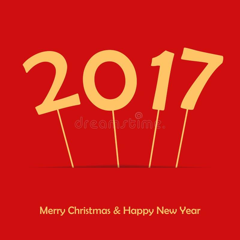 2017 sul bastone Nuovo anno felice e Buon Natale Fondo della carta o del manifesto Modello di HNY per il vostro illustrazione di stock