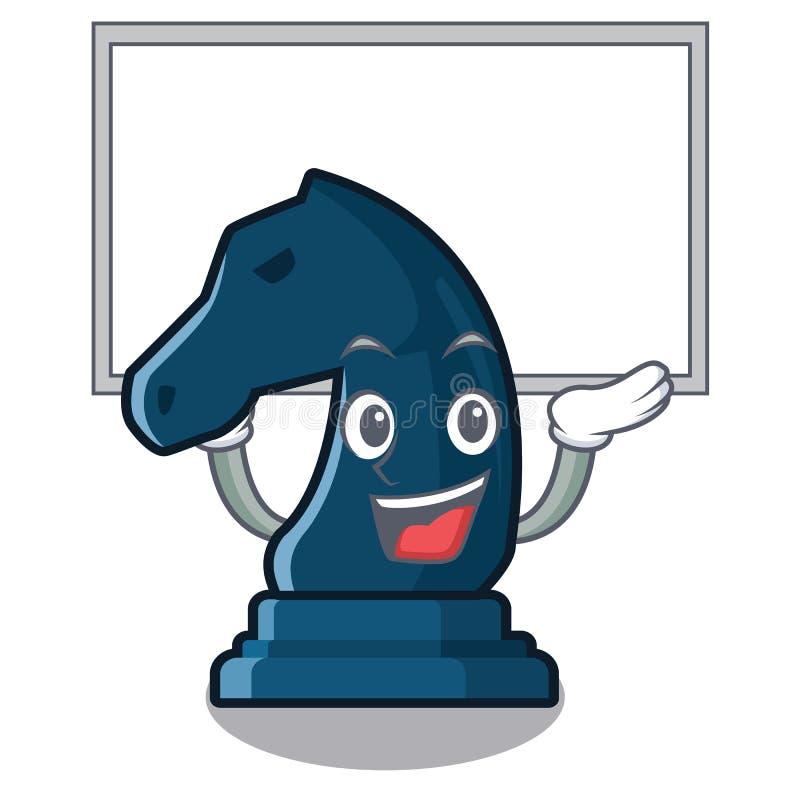Sul cavaliere di scacchi del bordo nella forma della mascotte illustrazione vettoriale