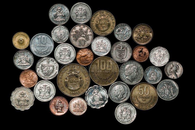 Sul central - moedas das caraíbas americanas fotos de stock royalty free