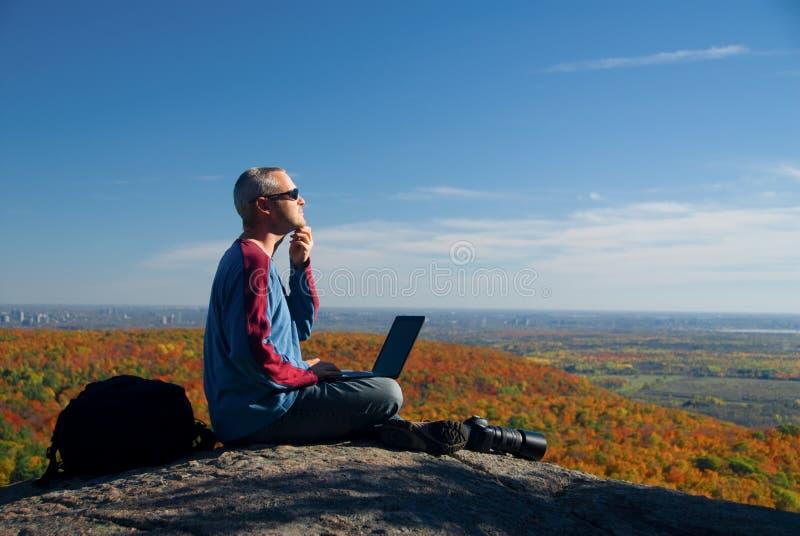 Sul computer portatile fotografia stock libera da diritti