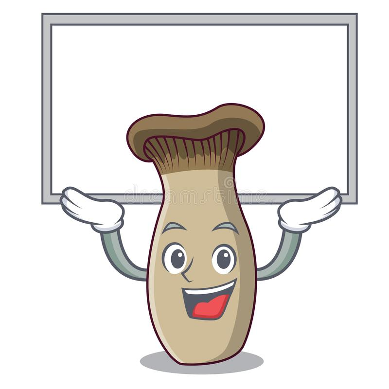 Sul fumetto del carattere del fungo della tromba di re del bordo illustrazione vettoriale